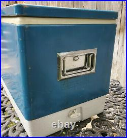Vintage 1970s Coleman Blue Metal Cooler Metal handles Dual Bottle Openers