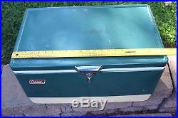 Vintage 1970s Coleman Cooler Ice Chest, Blue Green Metal, Snow Lite, 56 Qt