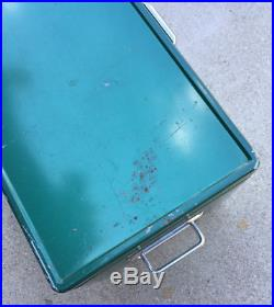 Vintage 1970s Coleman Green Metal Cooler 44qt Large 22.5 x 13.5 x 12.5