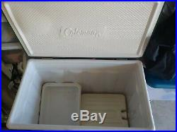 Vintage 1970s Coleman Large Metal Cooler Ice Chest Box Green withice & tray pack