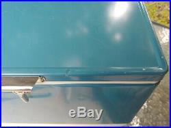 Vintage 1974 Coleman Blue Metal Cooler Steel Lock with Handles
