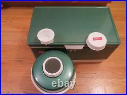 Vintage 1975 Metal COLEMAN Cooler Ice Chest Green with Coleman Water Jug Camp