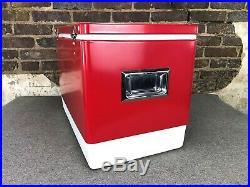 Vintage 1976 Red Metal Coleman Cooler Ice Chest 22 1/2 x 13 1/2 x 12 1/2 Beer