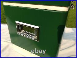 Vintage 1977 Large Coleman Green Metal Cooler Ice Chest 22x16x13 Excellent