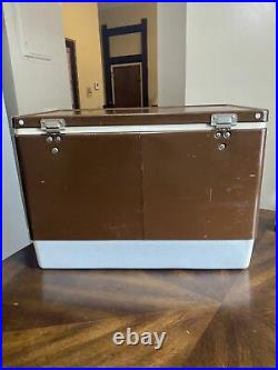 Vintage 1978 Brown Coleman Metal Cooler Locking Handle Ice Chest Box W Trays