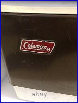 Vintage 1978 Brown Coleman Metal Cooler With Locking Handle Ice Chest Box
