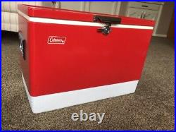 Vintage 1978 Red Metal Coleman Cooler / Ice Chest
