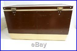 Vintage 1980 Coleman Cooler Huge 28 Across Brown Metal With Tray Insert