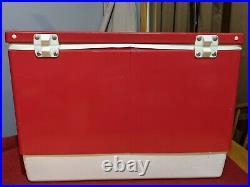 Vintage 1984 Red Metal Coleman Cooler Plastic Handles Great condition