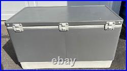 Vintage 1986 Coleman Steel Belted 80 Cooler Silver Grey Metallic 80s Summer Drin