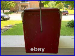 Vintage 50s Coca Cola Coke Cooler Metal Ice Chest Bottle Opener, Drain, No Tray