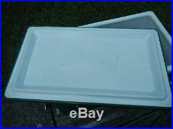 Vintage 60's Coleman Green Chest Cooler Metal Locking Handles with Tray