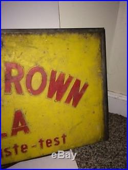 Vintage 60s Royal Crown RC Soda Pop Large Metal Advertisement Cooler Lid Sign