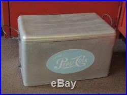 Vintage Aluminum/Metal Pepsi Cola Cooler Cronstroms Ice Chest With T (NJL004286)