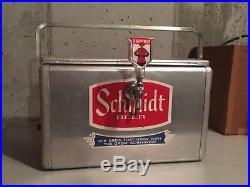 Metal Ice Chest | Vintage Aluminum Metal Schmidt Beer Ice Cooler