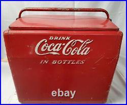 Vintage Antique 1950's Red Coca Cola in Bottles Metal Cooler Cavalier withOpener