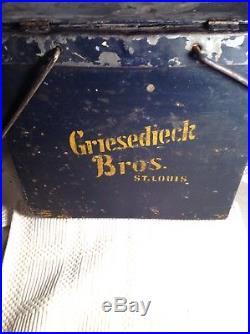 Vintage Antique Beer Cooler Draft Keg Beer Griesedieck St. Louis Wood Metal