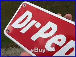 Vintage Antique Dr Pepper Porcelain Metal Non Tin Door Push Machine Cooler Sign