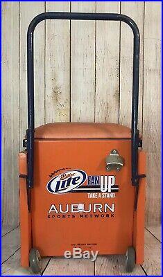 Vintage Auburn Sports Netwok Rolling Metal Cooler Rare