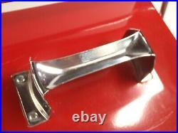 Vintage BUDWEISER BEER Anheuser Busch BRIGHT RED Metal Cooler NEAR MINT