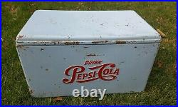Vintage Baby Blue Pepsi-Cola Metal Cooler Picnic Camping Tailgating Collectable