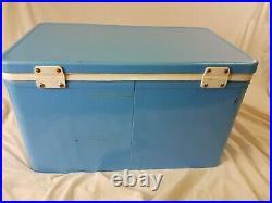 Vintage Blue Coleman Metal Cooler Low Boy