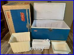 Vintage Blue Coleman Metal Cooler Rare Dual Bottle Openers with Box & Accessories