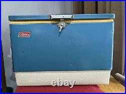 Vintage Blue Coleman Metal Cooler Rare with dual bottle openers