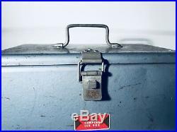 Vintage Blue JC HIGGINS Campers Ice Box Cooler Metal Latch/Handles Camping