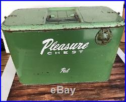 Vintage Buddy Pleasure Chest Metal Ice Chest Carry Cooler withTray & Drain Spout
