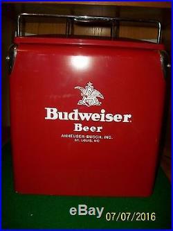 Metal Ice Chest   Vintage Budweiser Beer Metal Beer Cooler