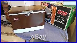 Vintage COLEMAN COOLER Brown Metal Snow-Lite 7 Gal NOS NEW In Box 5252D710