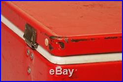 Vintage COLEMAN COOLER metal ice chest RED cam latch insulated double handles 75