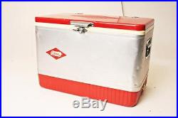 Vintage COLEMAN COOLER with Tray metal ice chest RED silver tin latch diamond logo