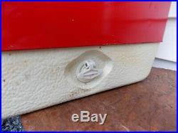 Vintage COLEMAN Red Metal Cooler Ice Box Metal Handles Metal Bottle Opener