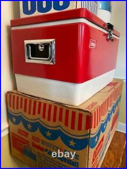 Vintage COLEMAN Red White Blue COOLER & SNOW LITE JUG New Old Stock in Box