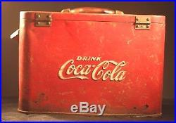 Vintage Coca Cola Airline Cooler Chest Soda Pop Advertising Embossed Metal