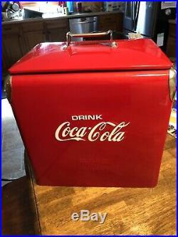 Vintage Coca Cola Coke Cooler Metal Ice Chest Cooler Refurbished Beautiful