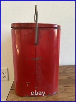 Vintage Coca Cola Coke Metal Cooler Chest With Sandwich Tray Inside