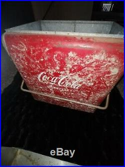 Vintage Coca Cola Coke Metal Cooler with insert