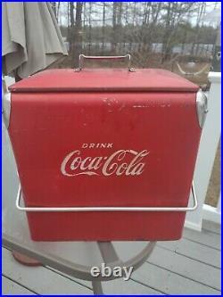 Vintage Coca Cola Coke Metal Insulated Cooler Chest WithShelf & Bottle Opener