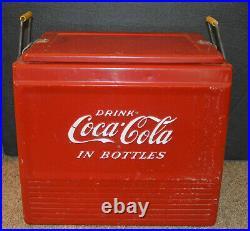 Vintage Coca Cola Coke Progress Refrigerator Co. Metal Ice Chest Cooler