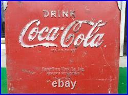 Vintage Coca Cola Coke Soda Beverage Small HandHeld Metal TempRite Cooler Sign