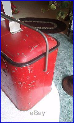 Vintage Coca Cola Metal 18 X 12 X 10 Red Ice Cooler Box With Bottle Opener An