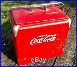 Vintage Coca Cola Metal Cooler Progress Refrigeration w Tray included ice COKE