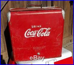Vintage Coca Cola Metal Cooler With Tray Bottle Opener