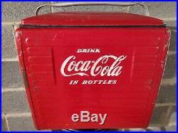 Vintage Coca Cola Metal Picnic Cooler (1950s)