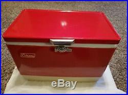 Vintage Coleman 28quart Red Snow-Lite 5252-703 Cooler Metal Bottle Opener withbox