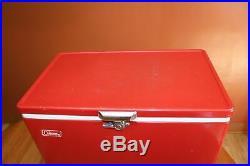 Vintage Coleman 56 Qt. Red Snow Lite Cooler 1972 & Red Snow Lite 2 Gal Jug 1966