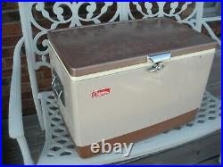 Vintage Coleman BROWN & TAN Metal Cooler with Tray